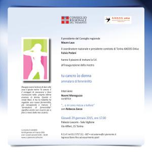 Tu Cancro Io Donna. Ammalarsi di Femminilità - Inaugurazione Torino 29 gennaio 2015